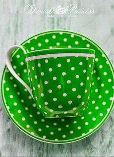 Green and White Polka Dot Cup and Saucer. Tea Cup Saucer, Tea Cups, My Favorite Color, My Favorite Things, Teapots And Cups, Chocolate Pots, Shades Of Green, Matcha, Green Colors