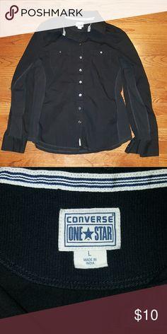 Converse button up Girls large black Converse button up shirt. Converse Shirts & Tops Button Down Shirts