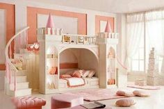 Gorgeous Castle Like Bunk Beds for Kids inside Girl Bedroom with Curve Stairs and Pink Cushions