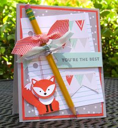 Krystal's Cards: Stampin' Up! Foxy Friends - Back To School Teacher Appreciation Cards, Teacher Cards, Teacher Gifts, Diy Thanksgiving Cards, Friends Thanksgiving, Cards For Friends, Friend Cards, Foxy Friends Punch, Stamping Up Cards