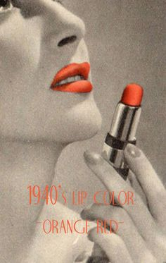 Vintage Lipstick Colors of the The was the golden age for lip makeup. The emphasis was to create a larger fuller look with reds of all shades. Orange Lipstick, Lipstick Colors, Red Lipsticks, Lip Colors, Colours, Vintage Makeup Looks, Looks Vintage, Vintage Ads, Vintage Style