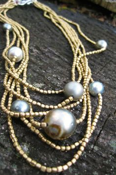 ASTRID  Mutli Strand Brass Necklace with Tahitian Pearls and Ruby Drop by NymphJewels on Etsy