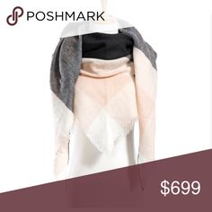 👑 Blanket Scarf 👑 Beautiful blanket scarf! Soft and cozy! Can be worn as a shawl, wrap scarf, infinity scarf, and more! It is cut in a triangle shape. Approximately 80in x 55in x 55 in. Brand new and never worn! Accessories Scarves & Wraps