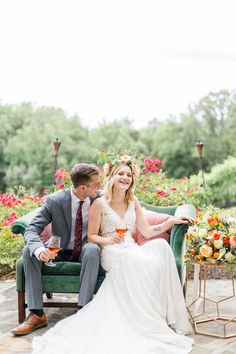 We adore this candid moment between the bride & groom!  And we certainly love comfy outdoor seating.  Venue: potomacpointwinery Photographers: kassielayne, aliraehaney   Styled Shoot Coordinator: klaynestyled Gown: avalaurennebride Florist: bergeronsflower Beauty: evergreenbeauty.nova & magnificent_mane17 Rentals: smthingvintage, dcreventrentals & paisleyandjade Garden Wedding, Summer Wedding, Tuscan Style, Outdoor Seating, Vows, Bride Groom, Candid, Real Weddings, Vintage Inspired