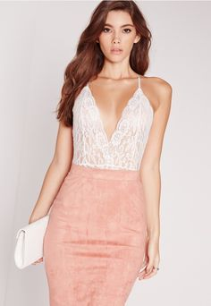 Sheer Lace Strappy Back Bodysuit White - Missguided
