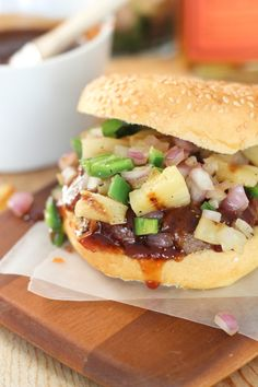 Spicy Bourbon BBQ Burgers with Grilled Pineapple, Onion & Jalapeno Salsa