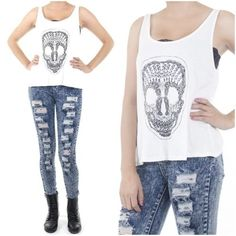 ebclo - SKULL Graphic Tulip Back Soft Rayon Jersey Knit Sleeveless Top NEW $15.00 Free Domestic Shipping