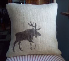Burlap Moose Decorative Pillow Cover 16 x 16 / Moose Pillow / Cabin and Lodge Decor