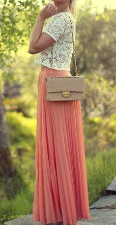 coral maxi + chanel bag