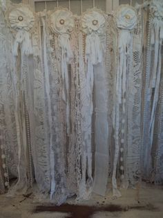 Fabric Vintage Lace Banner Wedding Pearl Garland Shabby Chic Boho Rag Tie Prop (from ebay: speckled*pup*prims)