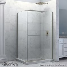 Quatra 34-3/8-inch x 58-3/8 to 58-3/4-inch x 72-inch Semi-Frameless Pivot Shower Enclosure in Brushed Nickel #SteamShowerEnclosure