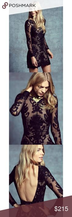 For Love & Lemons Night to Remember Dress XS & S - Black Lace/Nude Lining - Dry Clean Only  - Fabric: 40% Polyamide 40% Cotton 20% Polyester  - Lining (Nude): 90% Polyester 10% Spandex  Body is fully lined in nude  - Low back  - Invisible Side Seam Zipper Closure - Exposed Back For Love and Lemons Dresses Midi