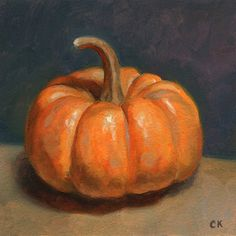 "Pumpkin, 4"" x 4"", oils on paper. Buy at ckornacki.etsy.com.  In 2015, I started a weekly food painting initiative. Every Monday, I create a small, 4"" oil paintings from life."