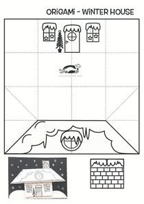 Printable template for a origami winter house. Winter Crafts For Kids, Art For Kids, Winter Activities, Activities For Kids, Paper Craft Supplies, Paper Crafts, Printable Designs, Printables, Kids Origami
