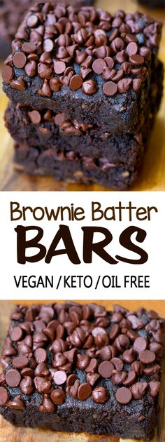 Brownie Batter Bars Homemade Desserts, Vegan Desserts, Easy Desserts, Low Carb Desserts, Dessert Recipes, Flourless Desserts, Healthy Deserts, Vegan Sweets, Pie Recipes