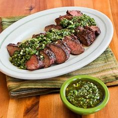Grilled Flat Iron Steak with Chimichurri Sauce found on KalynsKitchen.com