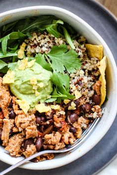 Spicy turkey taco quinoa bowls with cilantro avocado lime sauce