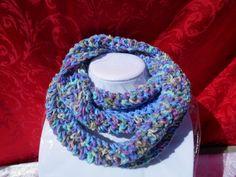 Blue Bumble Crocheted Infinity Cowl is made of acrylic yarn .. www.KaysKoolKrochet.Etsy.com