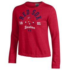 Women's Boston Red Sox Under Armour Red Levity Pullover Sweatshirt