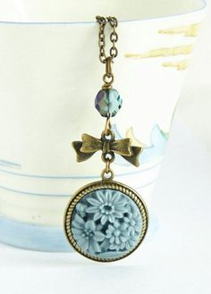 Blue Cameo Necklace Vintage Style