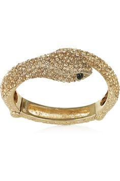 Roberto Cavalli|Gold-plated Swarovski crystal snake bracelet