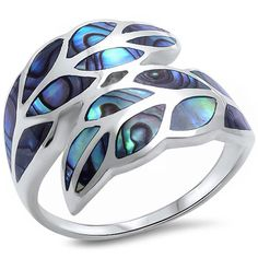 Created Abalone Shell Leaf .925 Sterling Silver Ring * Visit the image link more details. (This is an affiliate link) #Rings