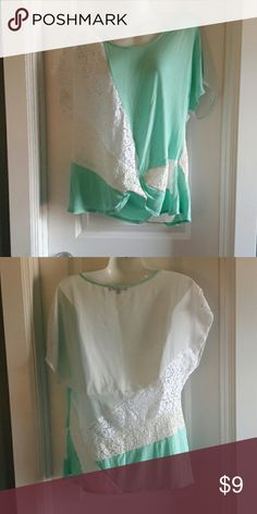 Aqua and white lace top Sheer back, great condition b'leev Tops Blouses