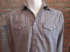 Mens MEDIUM western shirt Wrangler vintage gray with red and white stripes by Vintrowear, $20.00