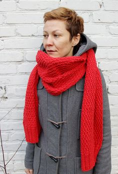 Red oversize knit scarf/Woman knit scarf/Long knit scarf/Very