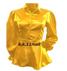 Satin Shirt Vintage wear Mustard color Office wear New 2019 Half Sleeve Blue Colour Shirt, Shirt Sleeves, Long Sleeve Shirts, Mint Green Shirts, Victorian Shirt, Satin Shirt, Vintage Wear, Retro Dress, Casual Wear