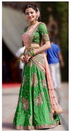 Half Saree Lehenga, Lehnga Dress, Red Lehenga, Lehenga Skirt, Anarkali, Anamika Khanna, Madhuri Dixit, Half Saree Designs, Lehenga Designs