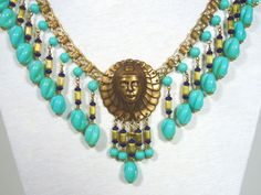 Vtg Egyptian Revival Necklace Miriam Haskell Turquoise Art Glass Face Medallion | eBay