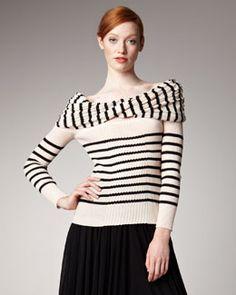 Jean Paul Gaultier Cross-Collar Striped Sweater  #www.frenchriviera.com