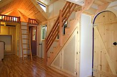 Another angle of tiny house interior with stairs - we dont need 2 lofts, though If you like please follow us!