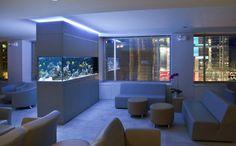 modern home aquarium in wall