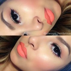 Blush: MAC Royal Sunset Lips: NYX lip liner in orange, NYX jumbo pencil in milk all over lips, Mac sushi kiss, and Milani Sweet Nectar