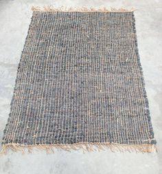Vloerkleed grijs grof gevlochten 160 x 230 cm