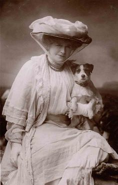 Ellen Terry and her Jack Russell. Jack Russell Terrier dog art portraits, photographs, information and just plain fun. Also see how artist Kline draws his dog art from only words at drawDOGS.com #drawDOGS http://drawdogs.com/product/dog-art/jack-russell-terrier-rough-dog-portrait-by-stephen-kline/ He also can add your dog's name into the lithograph.