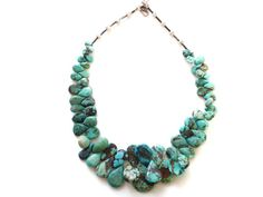 Vintage Natural Turquoise Nugget Necklace by DecoDazeFineVintage