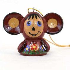 Cheburashka Wooden Christmas Ornament    FromRussia.com
