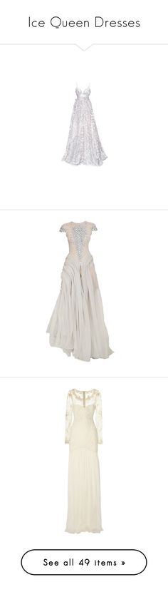 """Ice Queen Dresses"" by bluesharpie ❤ liked on Polyvore featuring dresses, wedding dresses, gowns, vestidos, wedding, long dress, white, white gown, long white evening dress and long dresses"