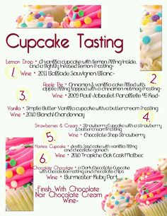 Cupcake And Wine Pairing Tasting Saturday December 15th. Great Way To Celibrate National Cupcake Day!