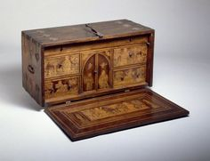 Traveling Desk (Escritorio), 18th century. Spanish cedar and walnut, with hard- and softwood inlays, pigments, iron, and velvet, 18 3/4 x 37 1/8 x 15 in. (47.6 x 94.3 x 38.1 cm). Brooklyn Museum, Gift of the family of Josephus Daniels, 51.102a-b.