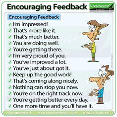 Encouragement Feedback Language in English - Bildung Improve English Grammar, English Speaking Skills, English Fun, Learn English Words, English Study, English Lessons, Teaching English, English Teacher Classroom, Classroom Language
