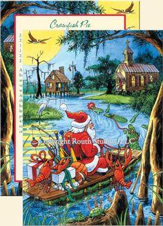 """Santa's Bayou Trek"" Christmas Cards, #C10A - Routh Studios, LLC"