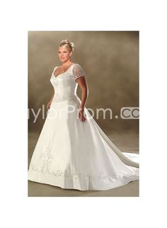 Amazing Sheer Short Sleeves A-line Semi-cathedral Plus Size Weddig Dresses WP-0001