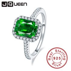 Aliexpress.com : Buy JQUEEN 3.6ct Nano Emerald Solid 925 Sterling Silver Rings For Women Brincos Engagement Wedding Ring Square Cut Amazing With box from Reliable vintage fashion doll suppliers on JQUEEN 925 Silver Jewelry Store