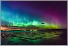 Northern lights on Gullane Beach, Scotland