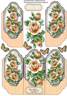 A lovely  tri card with beautiful Cream roses has one greeting tag and  a blank one