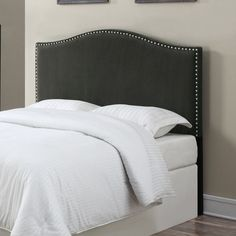 Charlton Home LaCrosse Upholstered Headboard Upholstery: Brown, Size: Full / Queen Bedroom Furniture For Sale, Condo Furniture, Bedroom Decor, Master Bedroom, Bedroom Ideas, Master Suite, Furniture Outlet, Furniture Ideas, Furniture Design